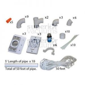 3 Inlet Kit, With Round Door Inlet White & 50′ Pipe