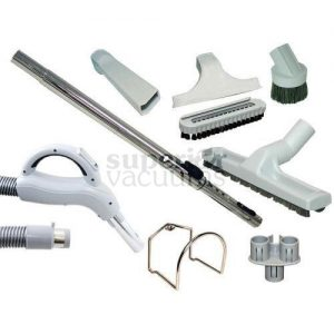 Central Vacuums Kit, Low Voltage 35 Ft Hose & Tools Grey