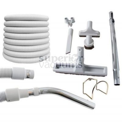 Central Vacuums Kit, Air 30 Ft 1 3/8 Hose, Tools & Wand Grey