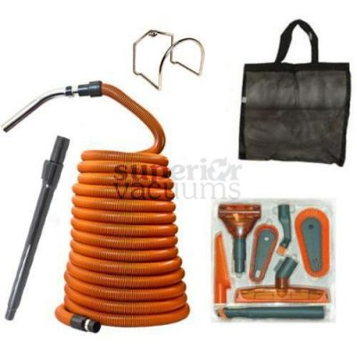 Central Vacuums Kit, Garage Deluxe 50' Hose, Tools & Wand Orange