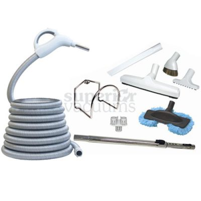 Central Vacuums Kit, Low Voltage 30 Ft Hose, Tools & Wand Deluxe Grey