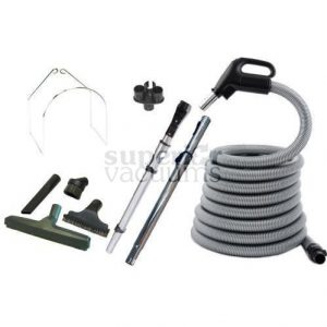 Central Vacuums Kit, 35' Plastiflex 3 Way Hose Tools & Wands - Black