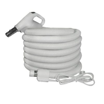 "Plastiflex Built-in & Central Vacuum Hose, 1 1/4"" X 30' 24/110 Volt Switch & Swivel Grey"