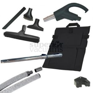 Hide-A-Hose Kit, 30' Mini Cuff Retractable Hose, Sock, Handle & Attachments