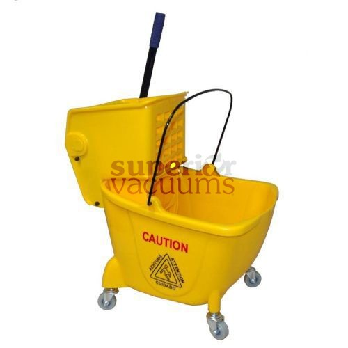 Janitorial Supplies Bucket, 26L With Side Press Wringer Yellow