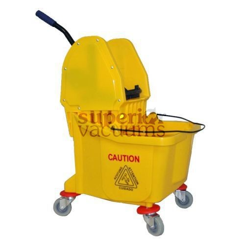 Janitorial Supplies Bucket, 32L With Down Press Wringer Yellow