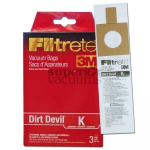 Dirt Devil Paper Bag Type K 3 Pack 3M Trivac With Bi400