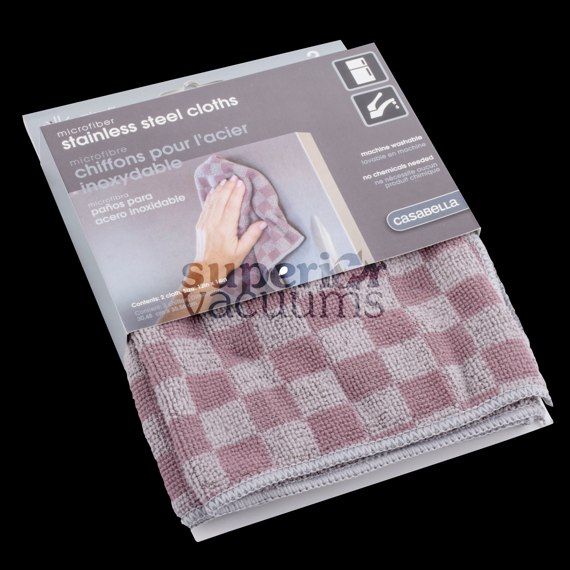 "Microfiber Stainless Steel Cloth,Two-Tone Grey 12"" X14"" (2Pk)"