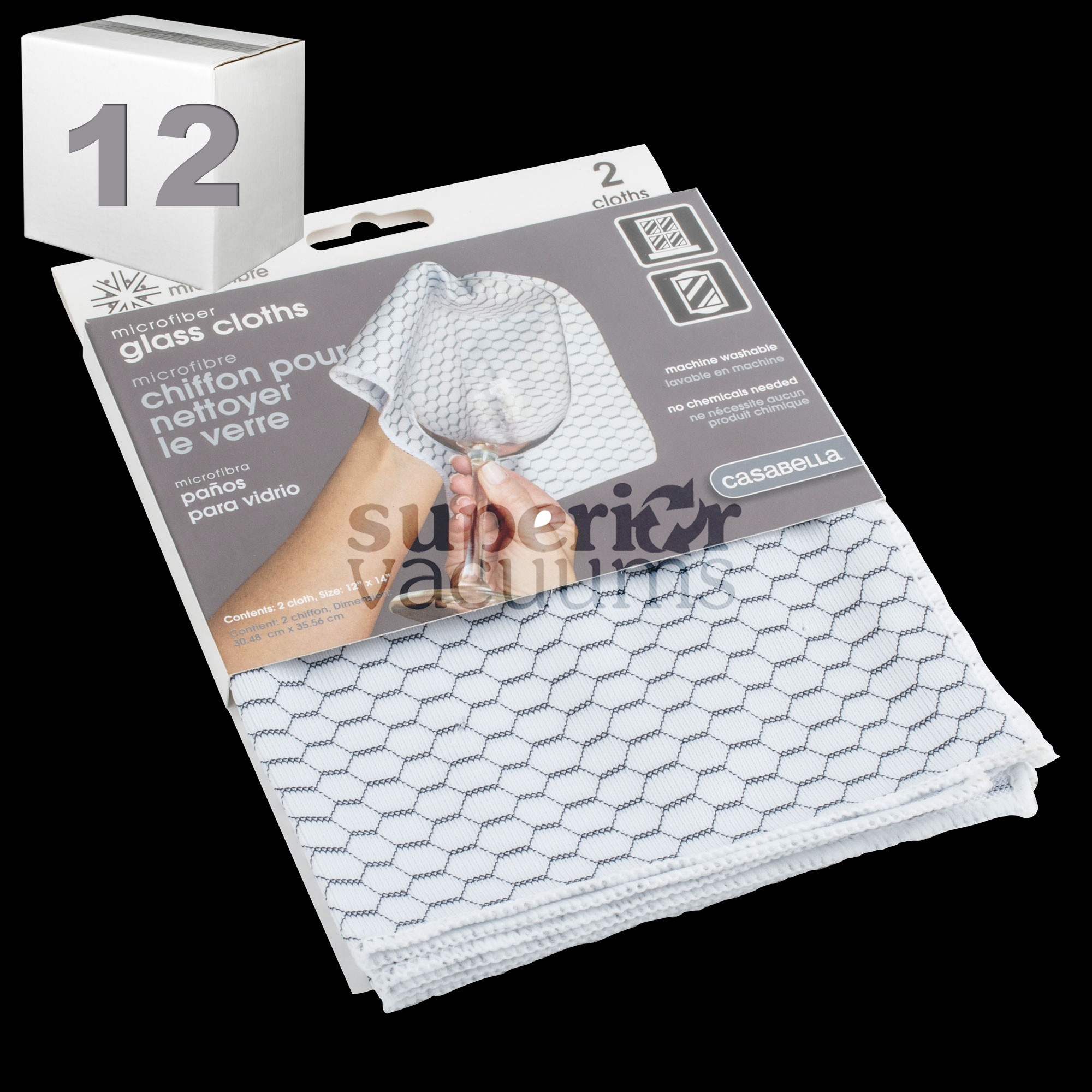 "Microfiber Glass Cloth 12"" X 14"" White Honeycomb Print (2Pk) Case Of 12"