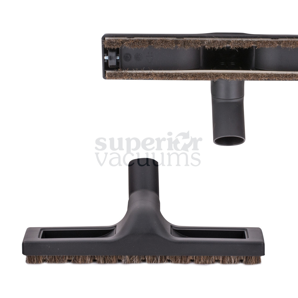 """Brush With Wheels And Horsehair Bristles 35Mm 1 3/8"""" Friction Fit Neck 12"""" Wide Black Fits Samsung Miele Soniclean"""