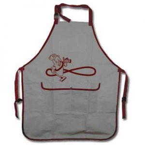 Apron Grey And Burgundy With Snap Pocket Adjustable