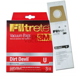 Paper Bag Type U Dirt Devil Upright Microlined 3 Pack 3M Swivel Glide Ry9750
