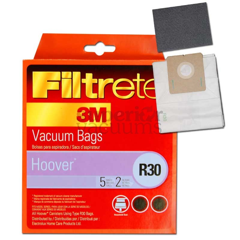 Canister R30 Paper Bag Microlined 5 Pack 2 Filters 3M