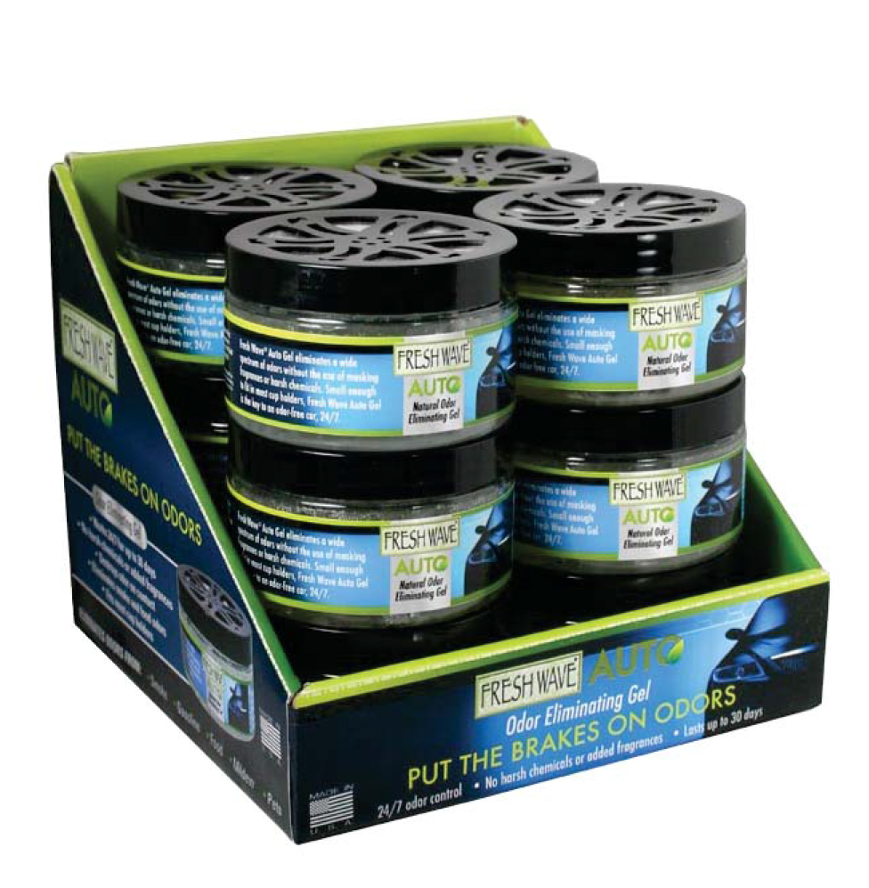 Wave Auto Gel Odor Eliminator Counter Display Includes 12 Units 4.5Oz Gel Fits Most Auto Cup Holders