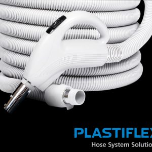 """Low Voltage Valueflex Central Hose 30' X 1 3/8"""" With Gas Pump Swivel Handle Light Grey Button Lock On Off Switch Air Relief Crushproof"""