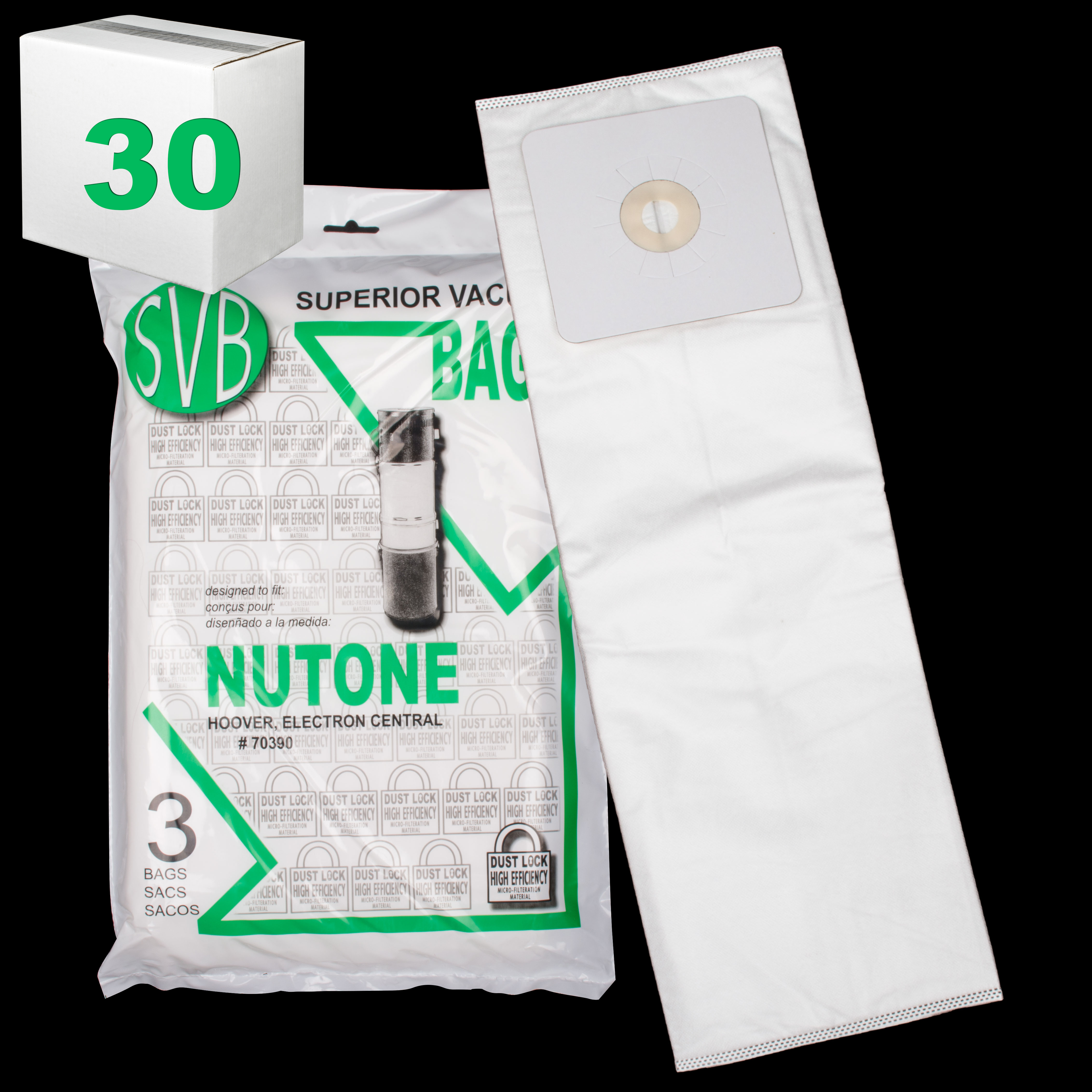 Electron Sc190 Sc300 Central Dustlock Bags Best Quality 3 Pack Multi Ply Hoover Case Of 30