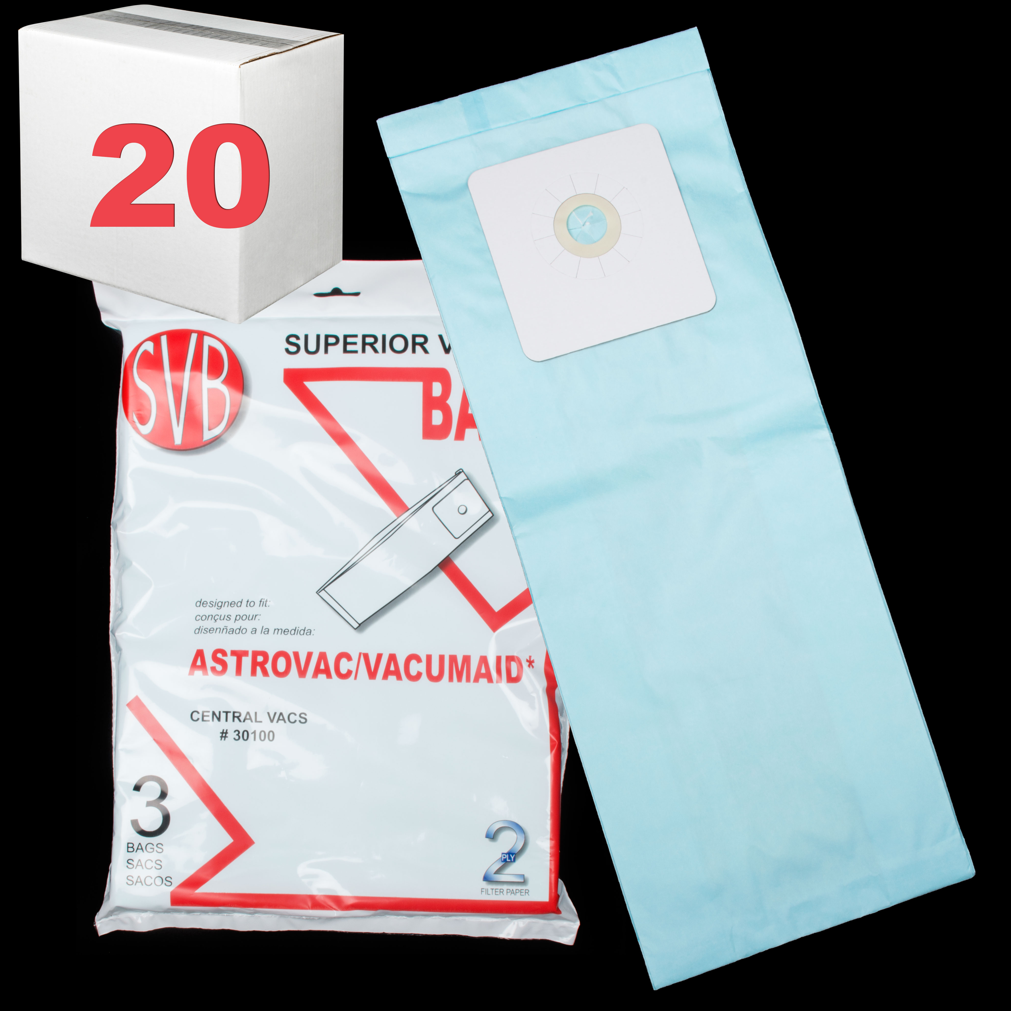 Astrovac Built-In Bag 2-Ply 12 Gallon 3 Pack Svb Case Of 20