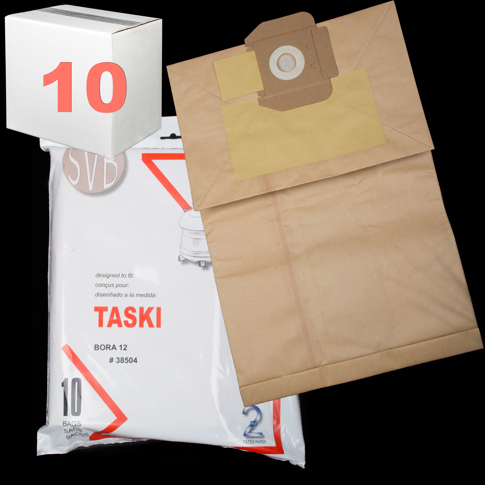 Paper Bag Bora 12 With Bag Closer. 2 Ply Best Quality 10 Pack Case Of 10