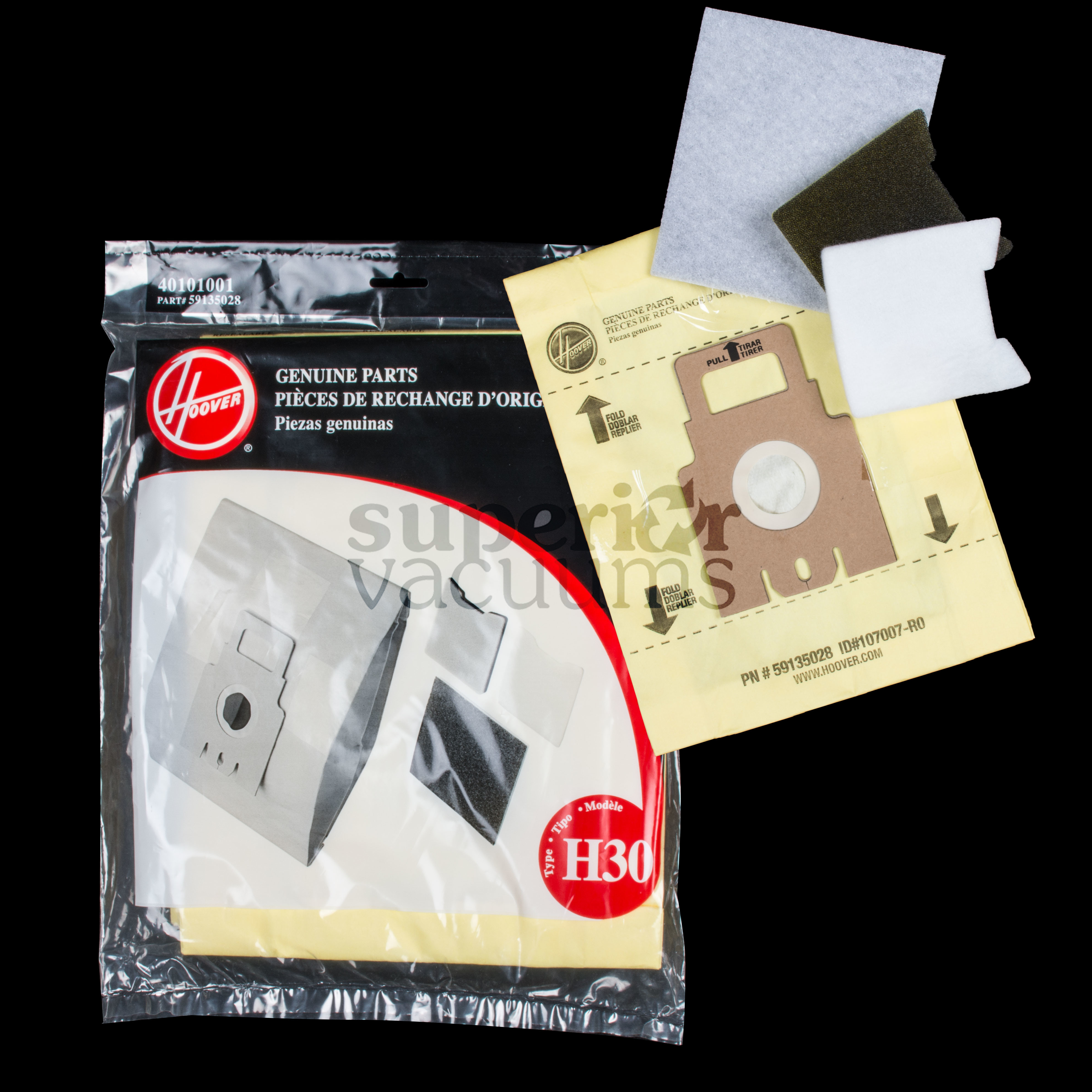 Paper Bag For Canister H30 Plus S3332-050 5 Pack With 3 Filters