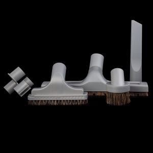 "Set 5 Piece Horsehair And Clip-On Caddy Titanium Grey 12"" Floor Brush With Wheels"
