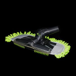 """Mophead Nozzle With Dust Fringe 14"""" Wide 32Mm 1 1/4"""" Neck Black With Lime Green Fringe"""