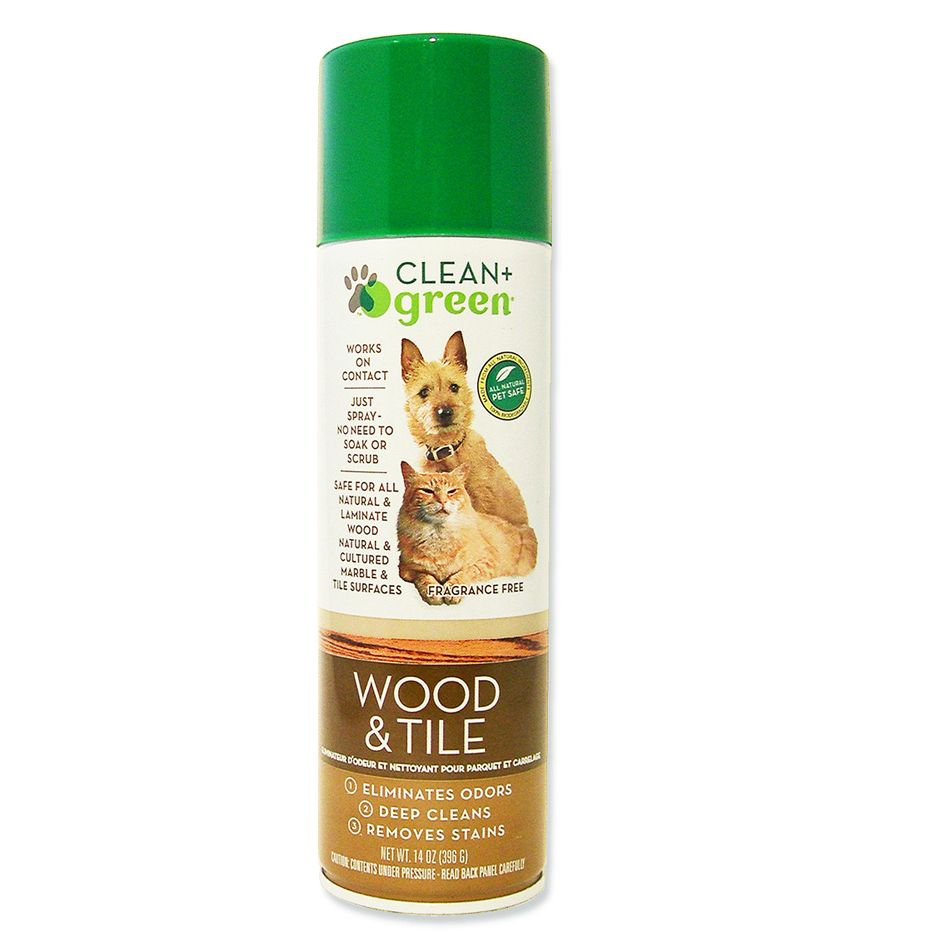 Clean + Green Wood & Tile All Natural Pet Stain Remover, Odor Eliminator & Cleaner, 14 Oz.