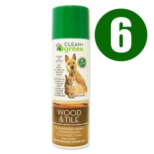 Clean + Green Wood & Tile All Natural Pet Stain Remover, Odor Eliminator & Cleaner, 14 Oz. Case Of 6